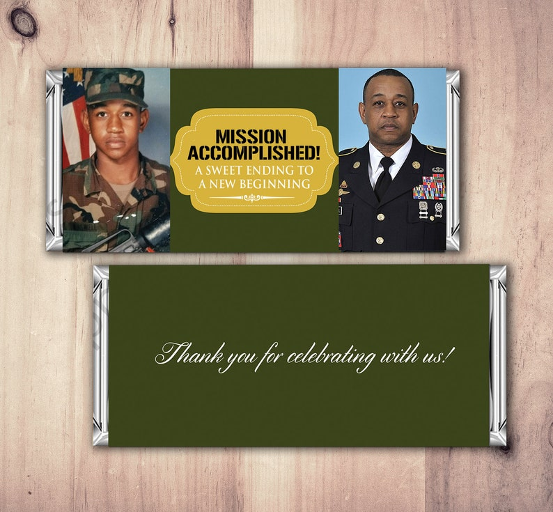 Military Retirement Candy Bar Wrapper Candy Bar retirement image 0