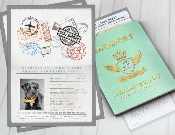 Passport And Ticket Baby Shower Invitation Coed Baby Shower