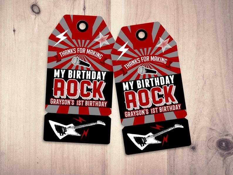 Party favor tag Rock Star birthday favor boy birthday SAMPLE PHOTO 1