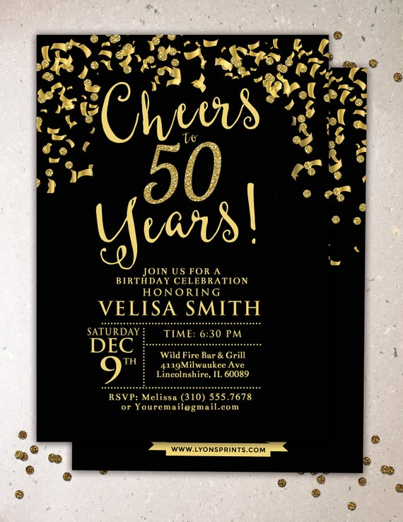ANY AGE Cheers Invitation 21st 30th 40th 50th 60th 70th Surprise Birthday Party Adult Confetti And Glitter
