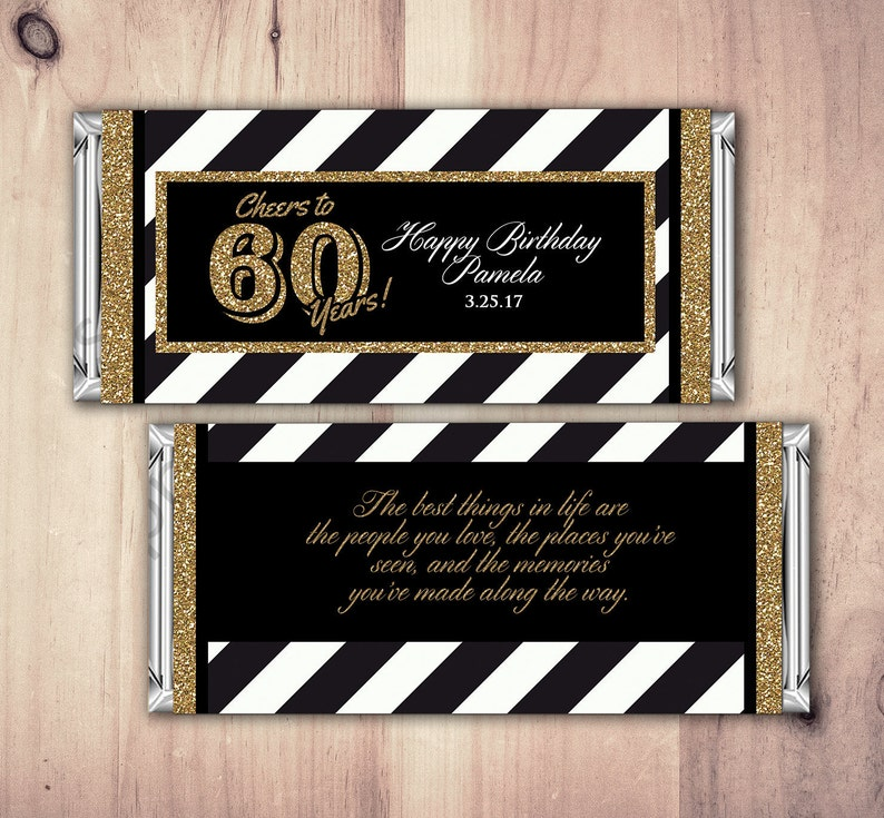 ANY AGE Birthday Candy Bar Wrappers  Gold Silver Cheers image 0