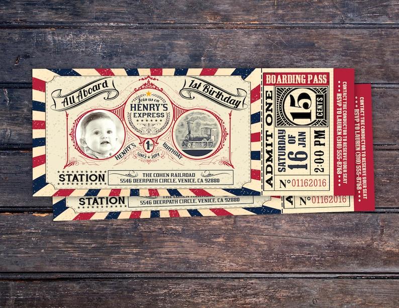 Vintage Train Ticket InvitationVintage Train invitation  image 0