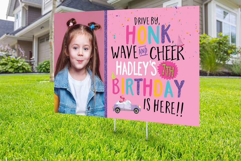 Drive by birthday parade Digital file only yard sign social image 0