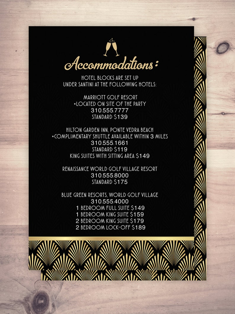 Great Gatsby accommodations card RSVP card Roaring 20's image 0