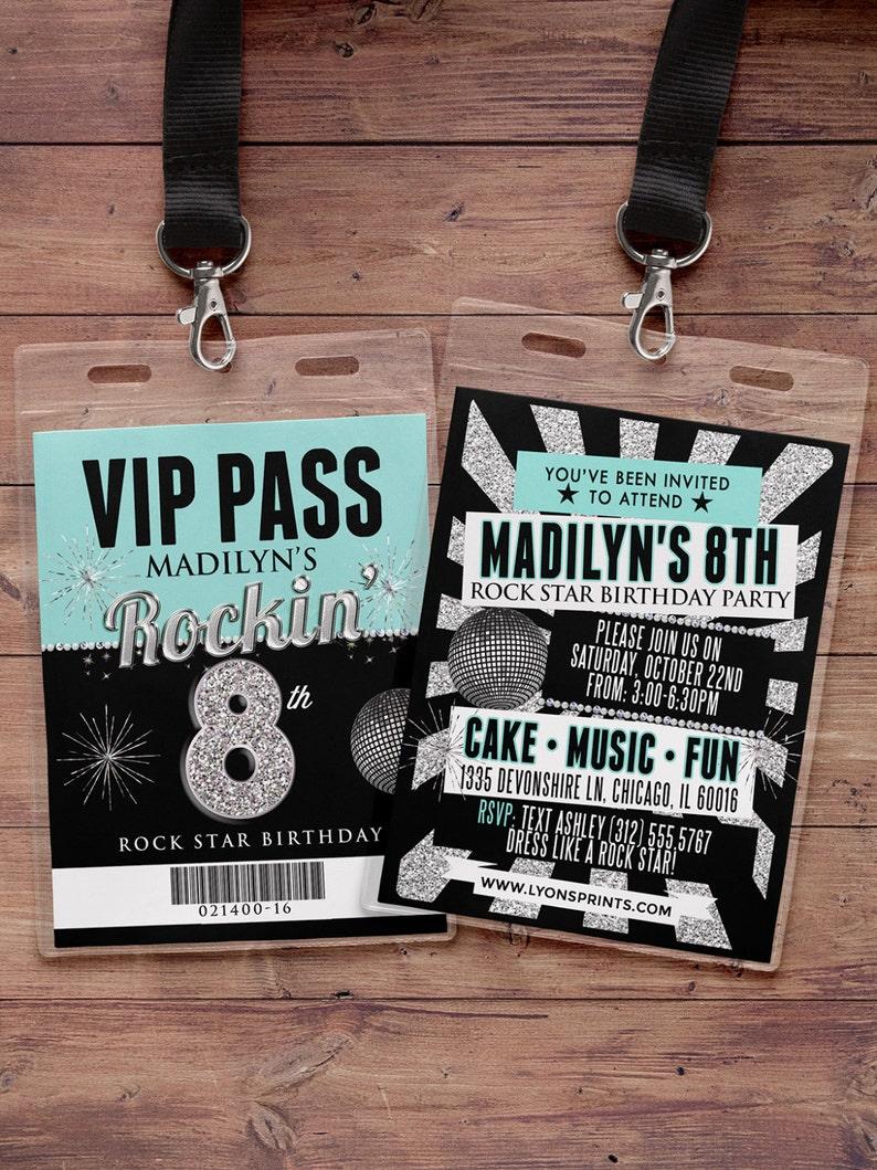 Any age birthday invitation rock star VIP PASS backstage image 0