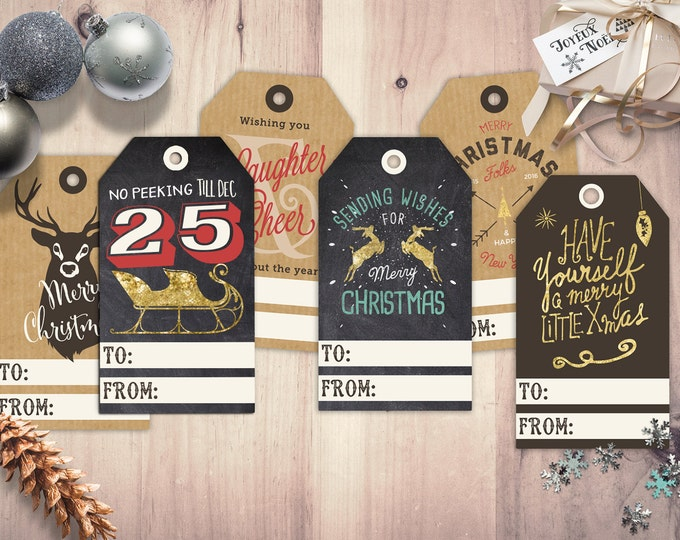 Set of 6 holiday, Christmas gift hang tags, labels, tags, holidays, gift, gift tag, gift label, hipster
