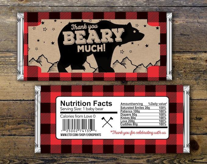 Digital Candy Bar Wrapper – lumberjack, bear  – Party Favors- shower favor, candy, lumberjack baby shower, woodland, birthday favor