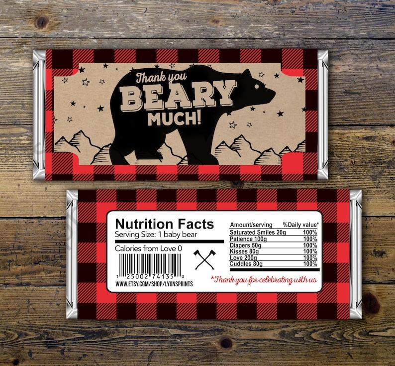 Digital Candy Bar Wrapper  lumberjack bear   Party Favors image 0