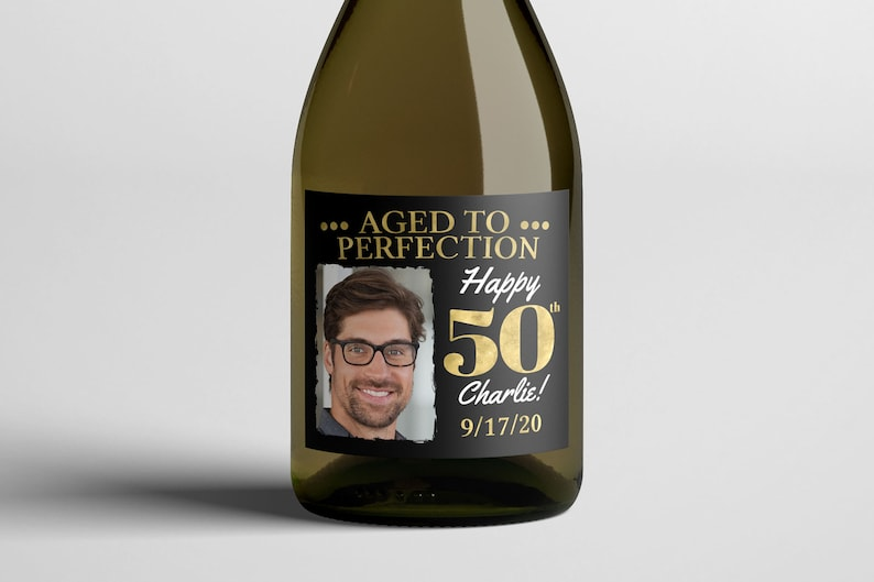 Any Age digital wine labels Aged to perfection Cheers and GOLD/BLACK/PHOTO