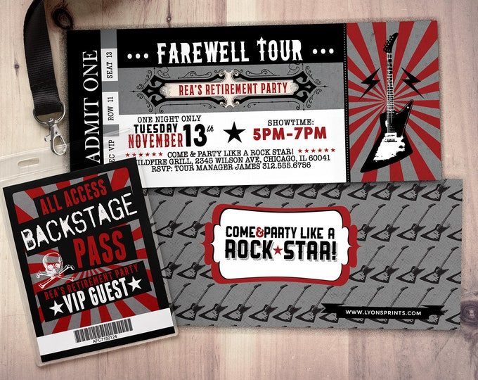 Retirement Party Invite, ticket invitation, Rockstar, save the date, farewell party, goodbye party, VIP pass
