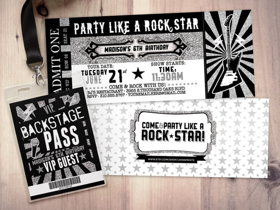 ROCK STAR Concert Ticket Birthday Party Invitation Music