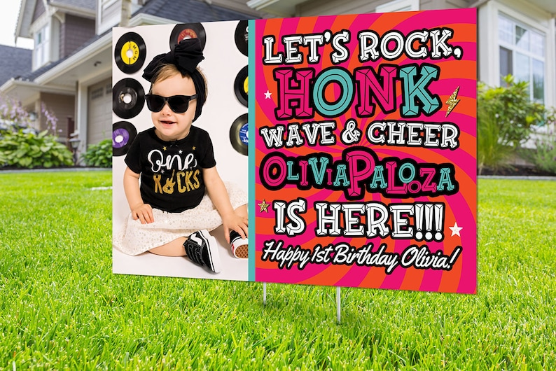 Drive by birthday parade Digital file only yard sign social PINK-PHOTO