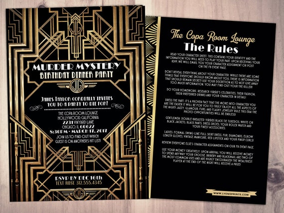 murder mystery dinner party invitation vintage party invitation