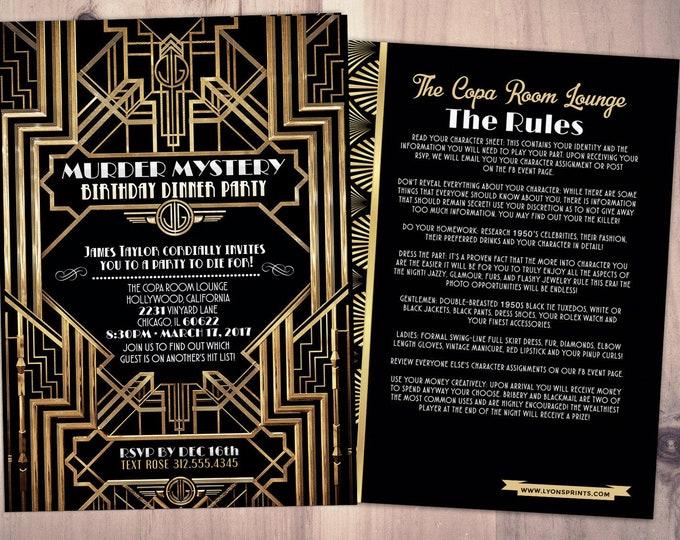 Murder Mystery Dinner Party Invitation, Vintage Party Invitation, Printable Birthday Invite, Great Gatsby, Hollywood glam,