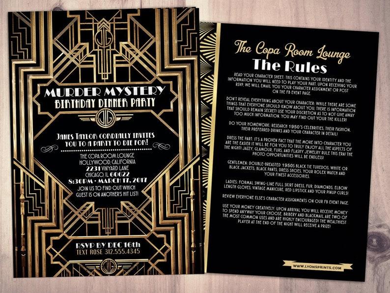 Murder Mystery Dinner Party Invitation Vintage Printable Birthday Invite Great Gatsby Hollywood Glam