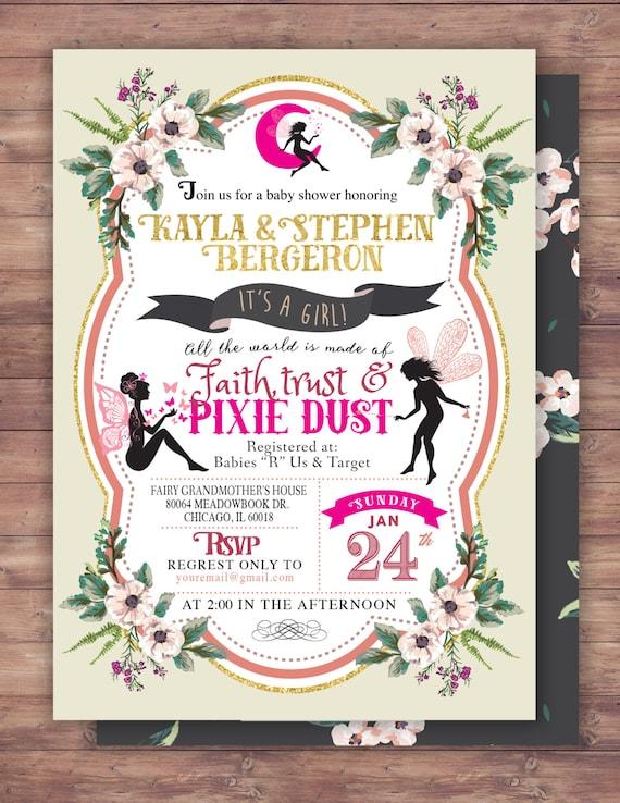 Fairy Baby Shower Invitation Neverland Invitation Watercolor