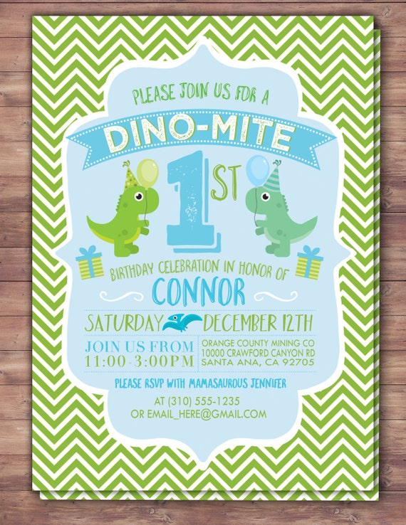 Dinosaur Birthday Invitation Dino Baby Chevron Pattern