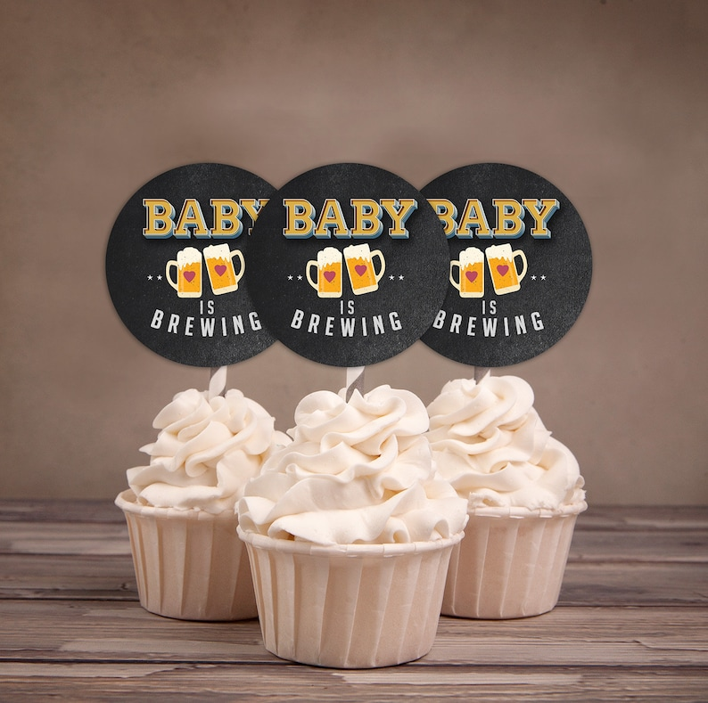 Baby is brewing cupcake toppers Coed baby shower Beer baby image 1