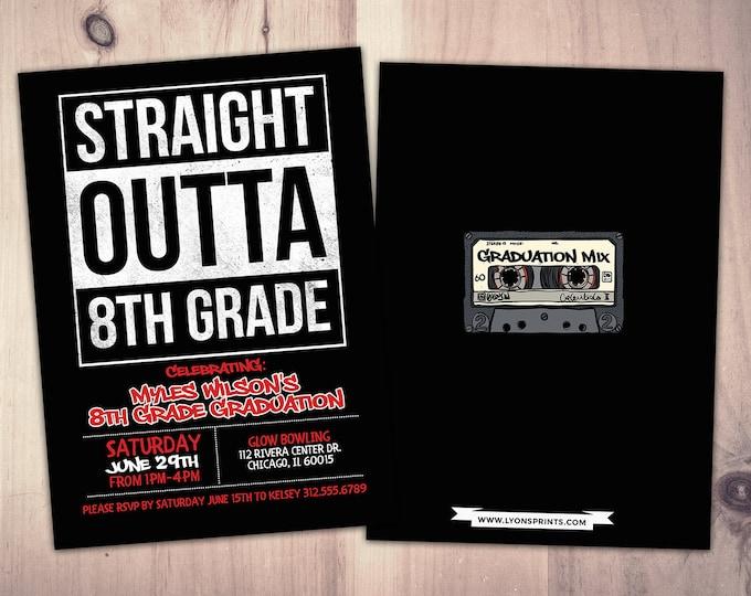 Straight outta, graduation party, Hip Hop, 90s party, birthday invitation, 8th grade grad, Graffiti, birthday, graduation, digital files