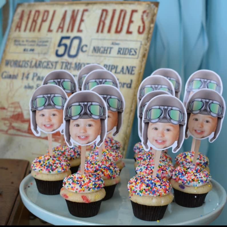 Photo Cupcake Toppers Digital File Aviator airplane image 1