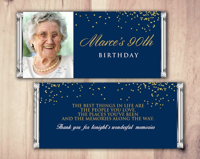 Birthday, Candy Bar Wrappers - Gold, Silver Adult Milestone Favors 30th, 40th, 50th, 60th, 70th, 80th Any Age, vintage, aged to perfection