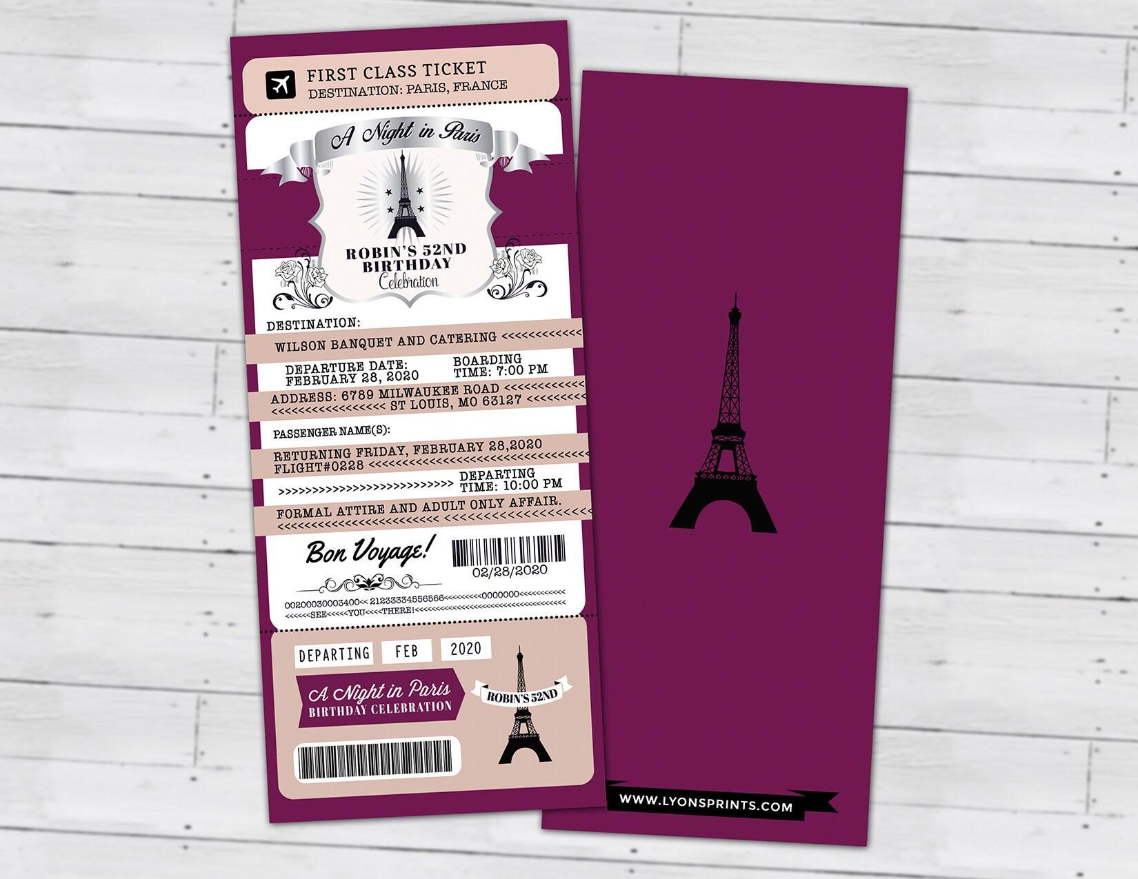 PASSPORT and TICKET birthday invitation, Paris birthday ...