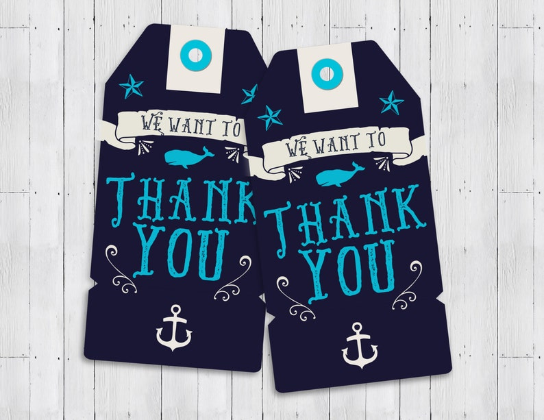 Nautical Baby Shower thank you Ahoy It's A Boy  favor image 0