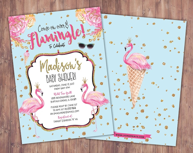 Baby Shower, Flamingo invitation, Flamingo party, pool party invitation, birthday invitation, pink gold invitation, glitter invitation,