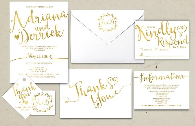 info card RSVP monogram Gold Wedding Invitation Printable Kraft,Wedding Invitation Suite hand lettered typography theme