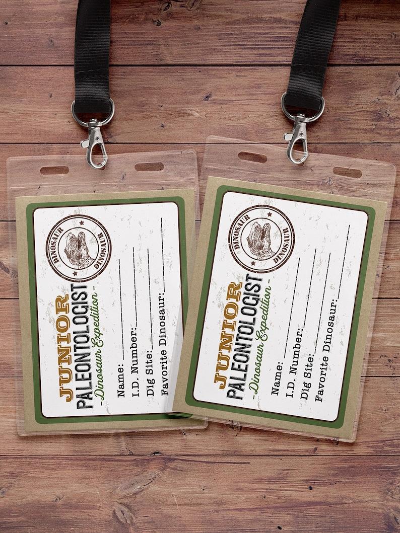 Dinosaur Dig Party name badge Dinosaur Birthday Dino image 0