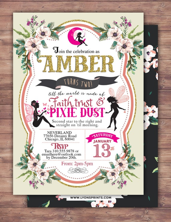 Fairy Birthday Invitation Neverland Watercolor Floral Baby Shower Vintage Background Pixie 1st