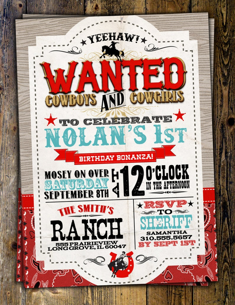 Vintage pin up rockabilly cowgirl party invitation birthday party invitations