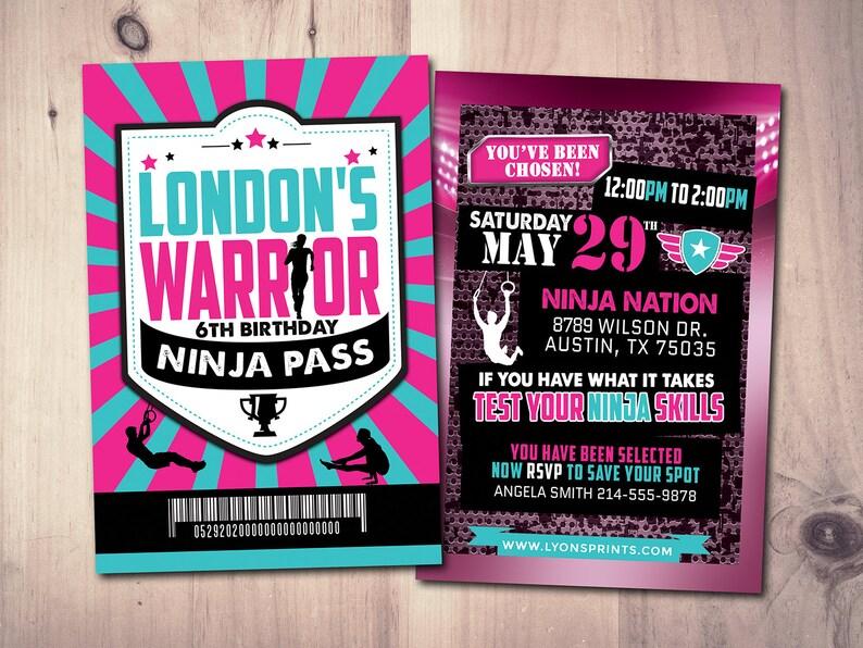 Army Invitation warrior invitation Ninja invite paintball image 0