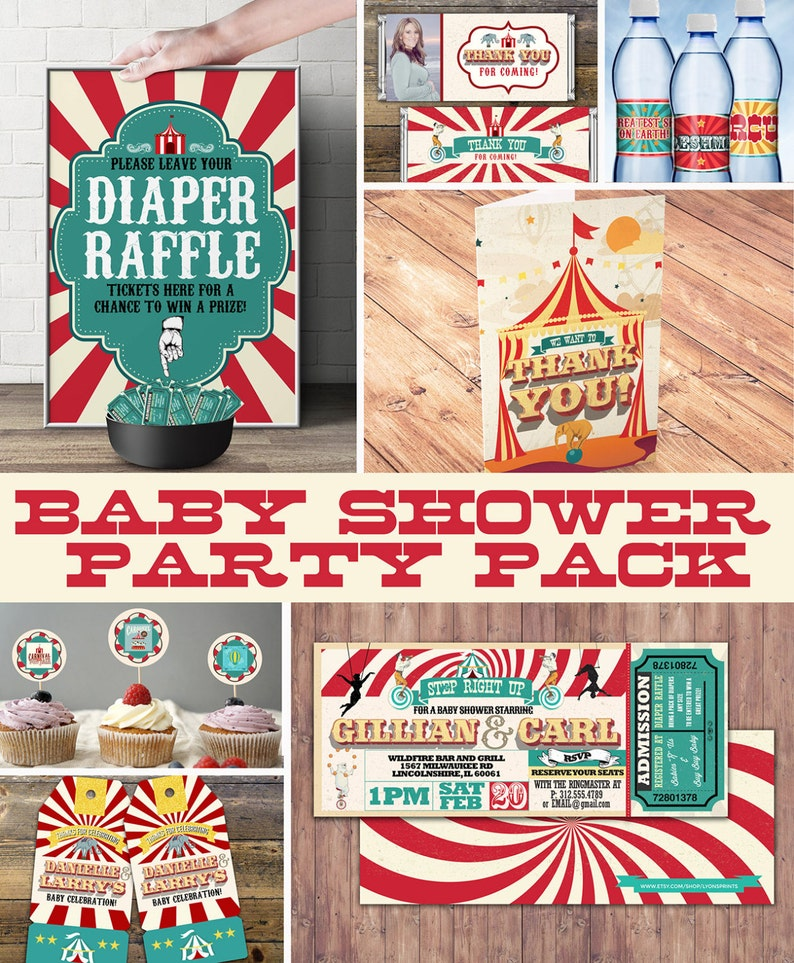 Circus Printable Baby Shower Package  Vintage Circus Big Top image 0