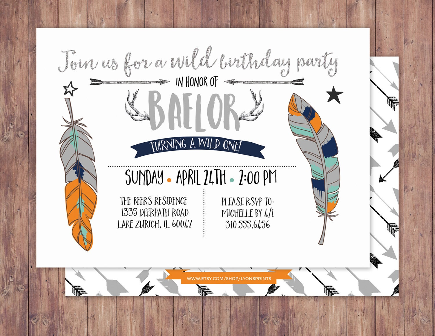 Tribal Birthday Invitation BOHO Invite Feathers Arrows Pow Wow Baby Girl Boy First 1st Wild