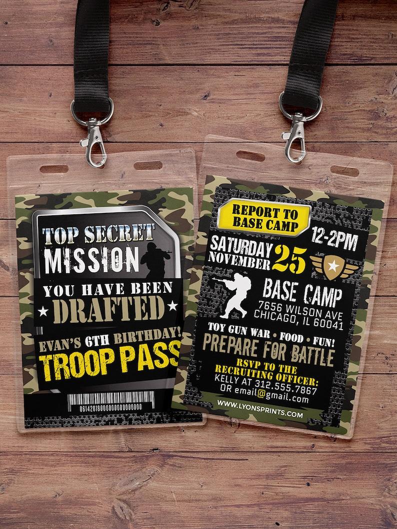 Army Invitation toy gun invitation paintball invitation image 0