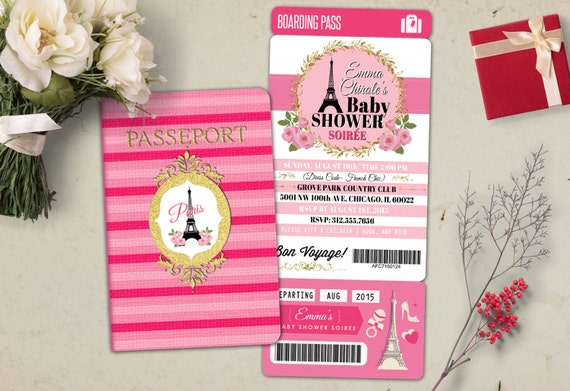 Passport And Ticket Baby Shower Invitation Baby Girl Wedding