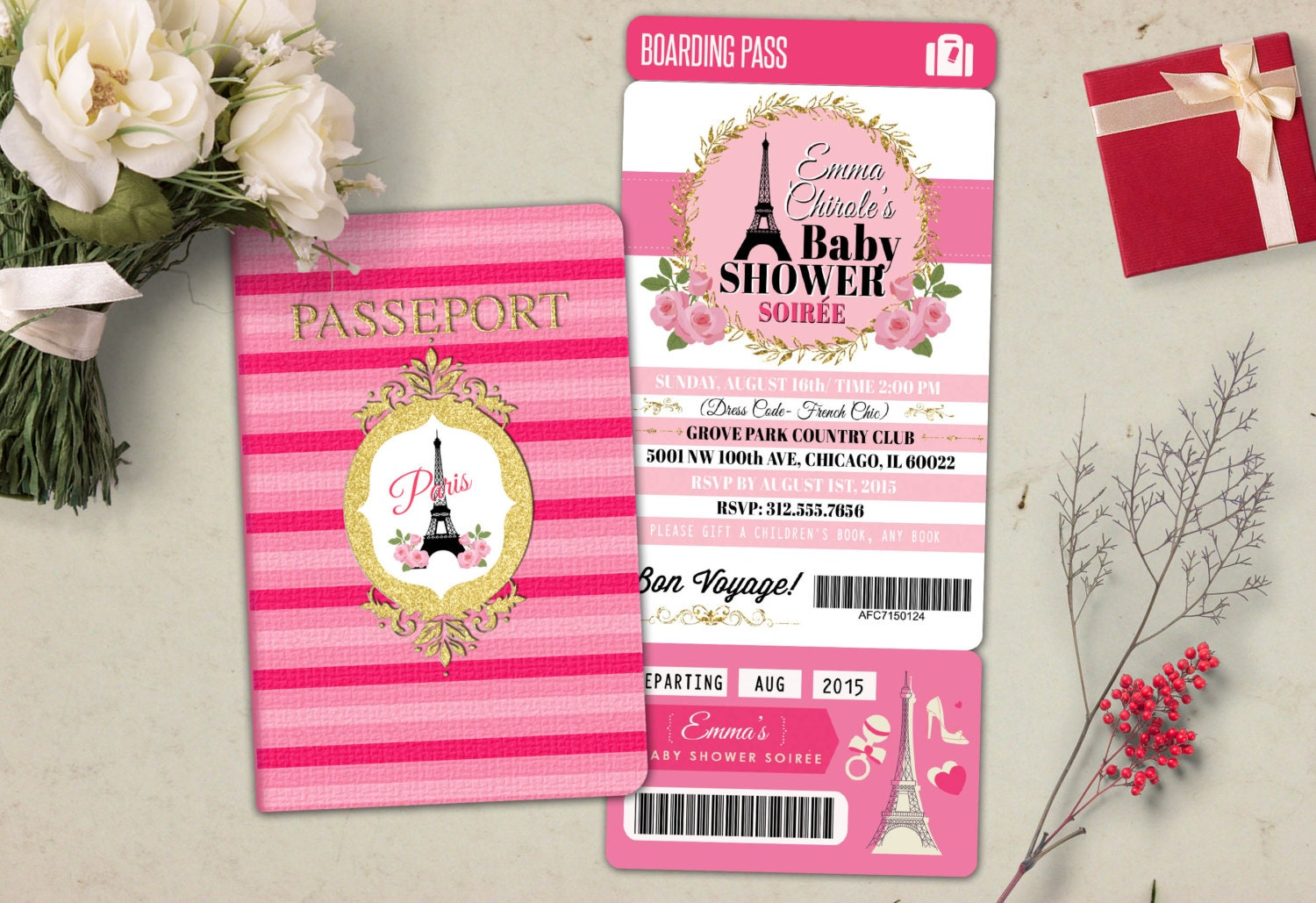 PASSPORT and TICKET baby shower invitation Baby girl wedding | Etsy