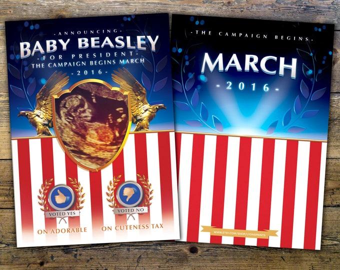 Political, announcement, baby announcement, birth announcement, pregnancy announcement, election, poster, presidential, republican, democrat
