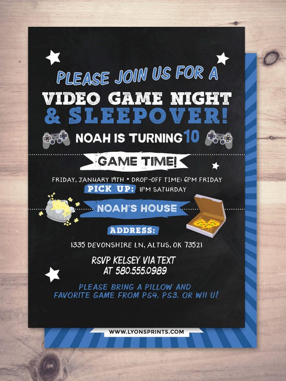 Sleepover Party Invitation Boy Birthday Invitations