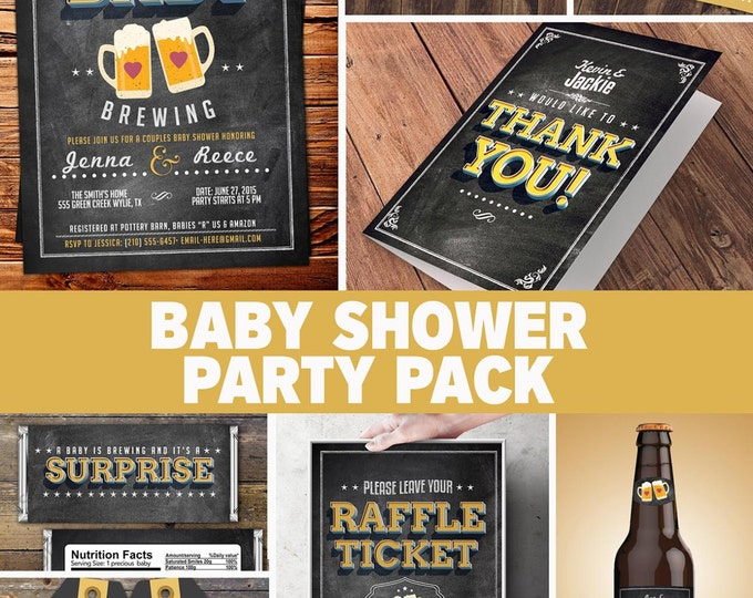 Party pack, party decorations, Coed baby shower invitation- Beer baby shower invitation- girl baby shower - boy baby shower, baby is brewing