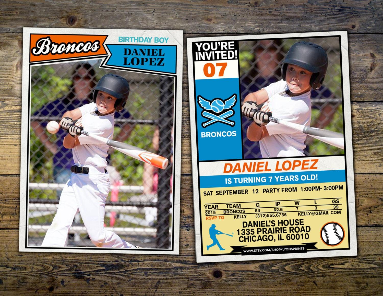 Baseball Card Invitation Vintage Retro All Star Little Slugger Birthday BIRTHDAY Sports Football