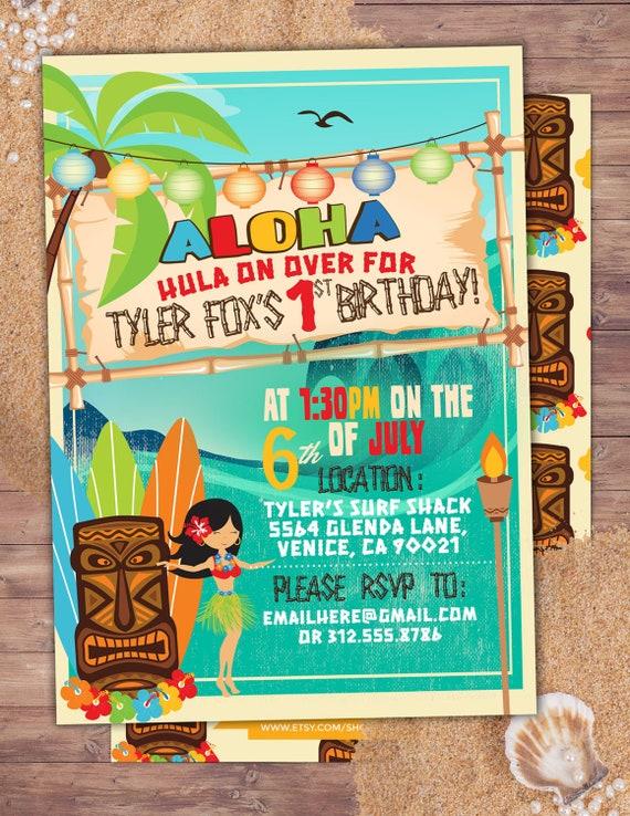 tiki party hawaii invitation pool party invitation surfer