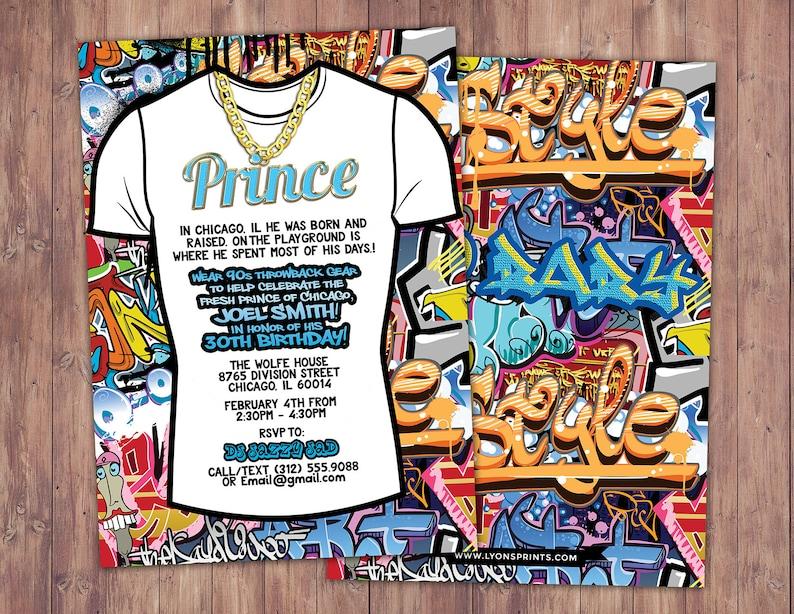 Fresh Prince Birthday Baby Shower Hip Hop Swagger 90s SAMPLE PHOTO 1
