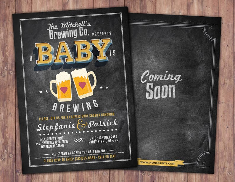 Baby is brewing Coed baby shower invitation Beer baby shower SAMPLE PHOTO 1
