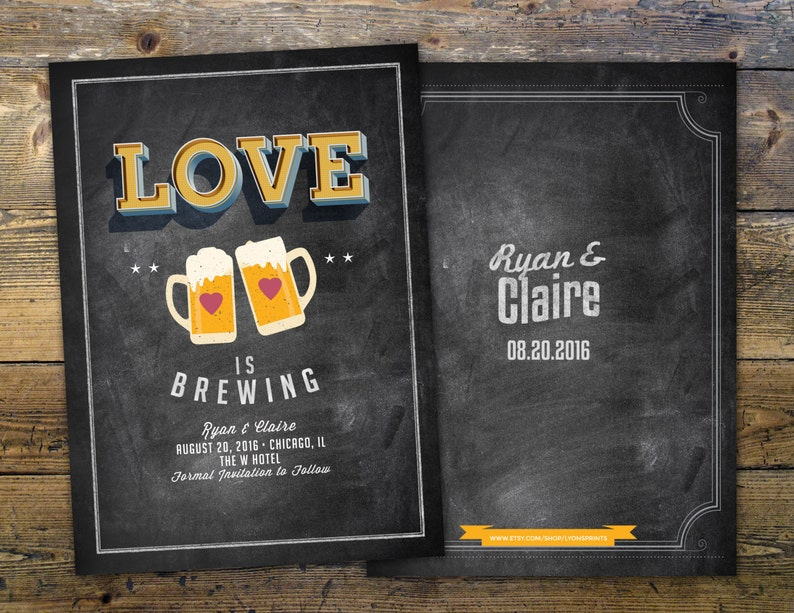Save the date Coed bridal shower invitation Beer bridal LOVE IS BREWING