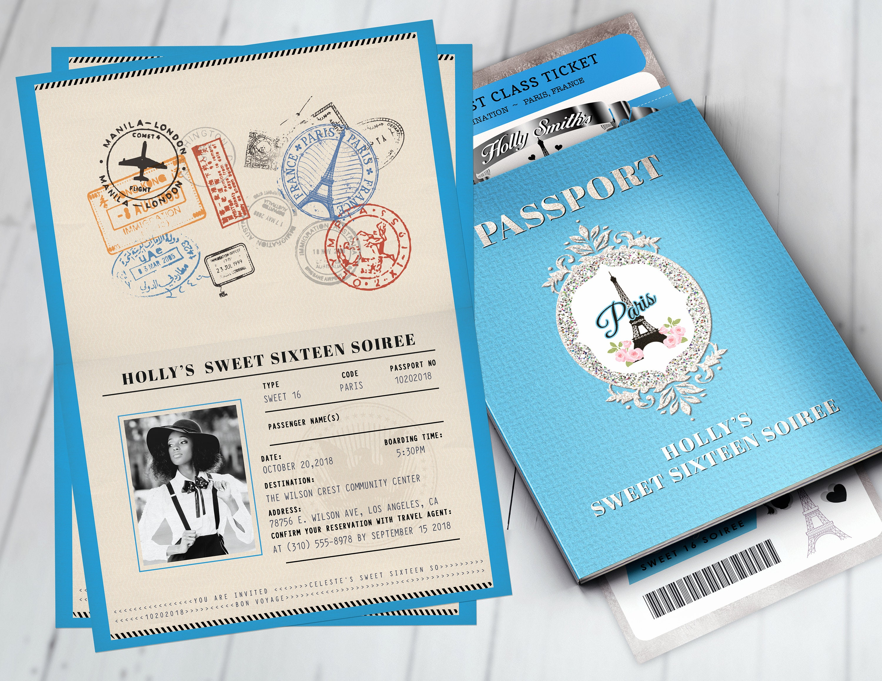 passport and ticket sweet 16 bridal shower invitation girl birthday party travel birthday party invitation paris digital files only