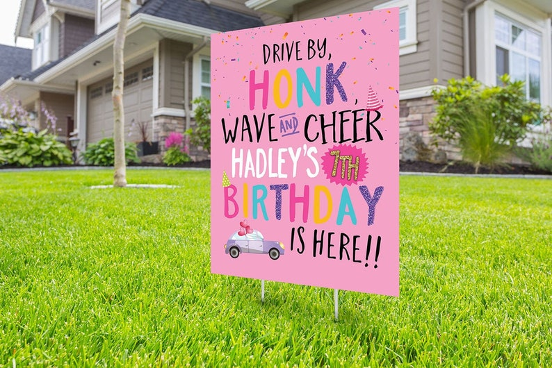 yard sign car birthday parade quarantine party social distancing drive-by birthday party Drive by birthday parade Digital file only