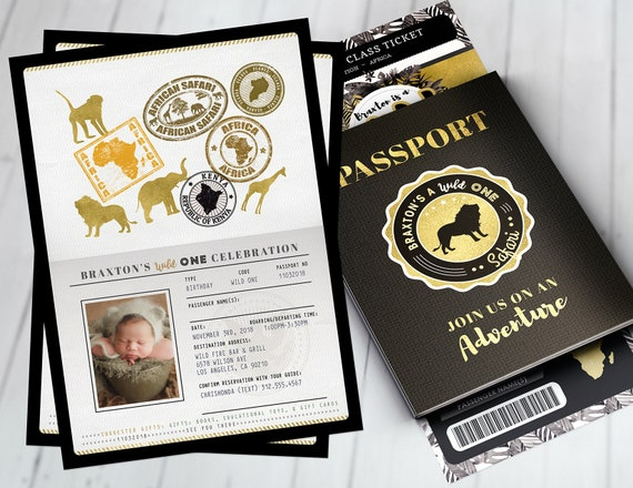 Watercolors Elephant Passport invitation Jungle Invitation Safari invitation Jungle invite Wild One Lion Wild thing Safari Invite