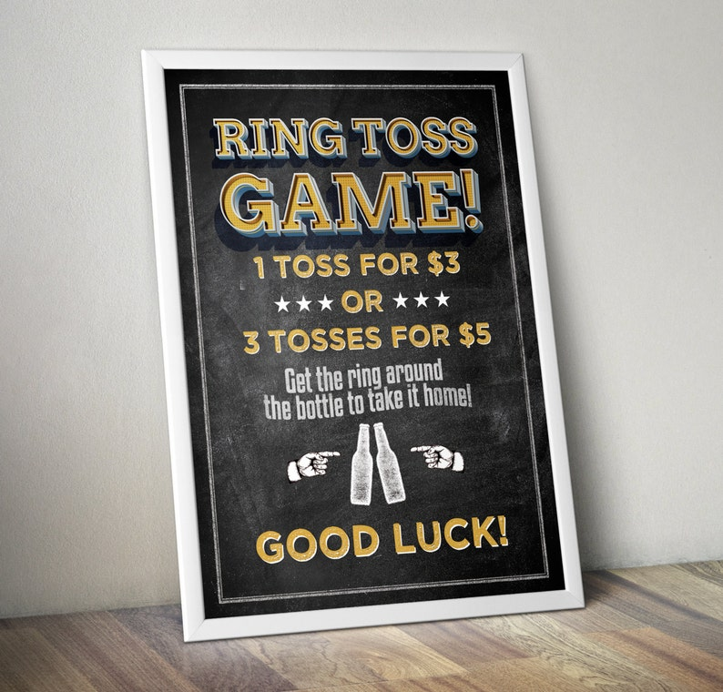 Ring Toss sign Baby is brewing Coed baby shower game Beer image 0